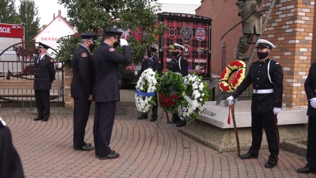Firefighters honour those who died in 9/11 and in the line of duty