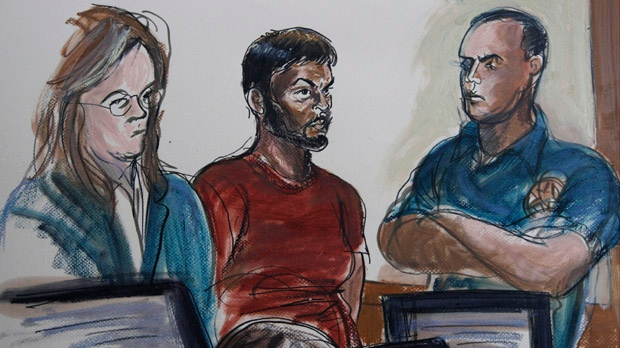This courtroom sketch shows Quazi Mohammad Rezwanul Ahsan Nafis, centre, and his attorney Heidi Cesare, left, in Brooklyn Federal Court in New York on Wednesday, Oct. 17, 2012. (AP / Elizabeth Williams)