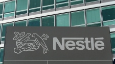 Nestle's logo on a sign in Switzerland