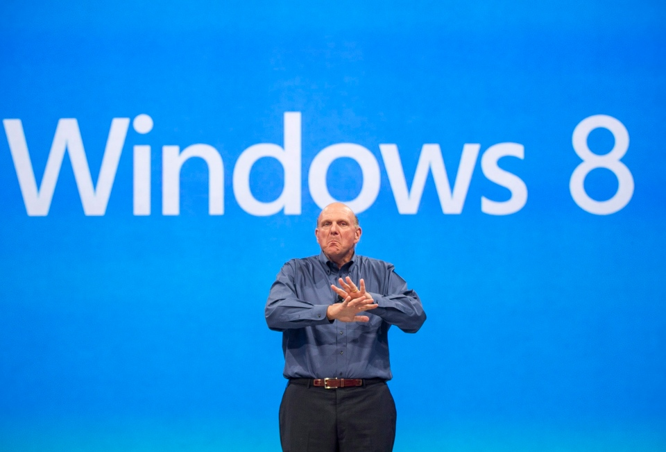 In this Monday, June 18, 2012, file photo, Microsoft CEO Steve Ballmer comments on the Windows 8 operating system. (AP / Damian Dovarganes)
