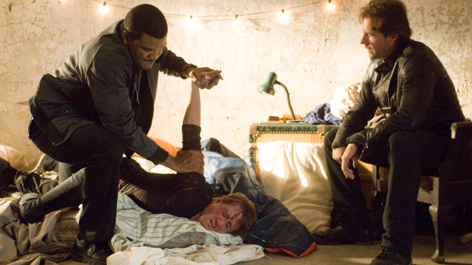 Edward Burns, right, and Tyler Perry during a scene from eOne's 'Alex Cross.'