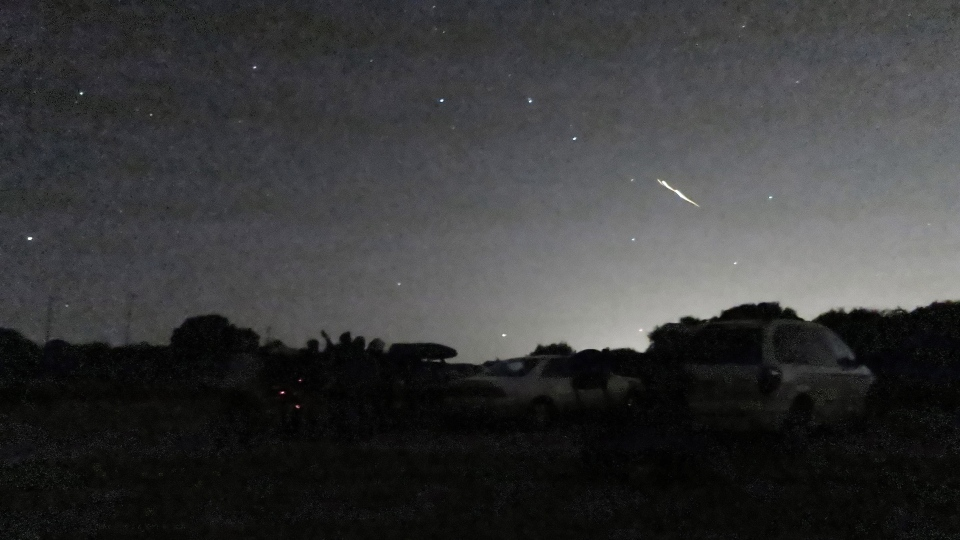 In this photo taken Oct. 17, 2012 and provided by Phil Terzian is a shooting star above the Montebello Open Space Preserve in Palo Alto, Calif. Streaking fireballs lighting up California skies and stunning stargazers are part of a major meteor shower, and the show is just getting started, professional observers said.