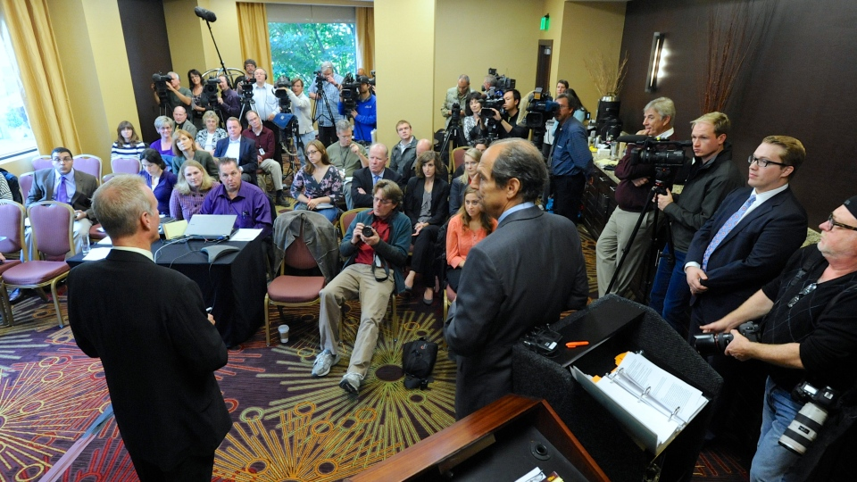 Attorney Paul Mones, right, with Kelly Clark, talks about some of the 14,500 pages of previously confidential documents created by the Boy Scouts of America concerning child sexual abuse within the organization, at a press conference to release the documents in Portland, Ore., Thursday, Oct. 18, 2012. (AP / Greg Wahl-Stephens)