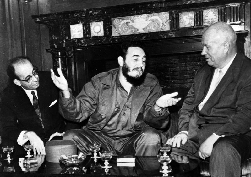Cuba's leader Fidel Castro, centre, speaks with Soviet Premier Nikita Khrushchev, right, as his Foreign Minister Raul Roa, left, looks on at the Hotel Theresa during the United Nations General Assembly in New York, Sept. 20, 1960. (AP / Prensa Latina via AP Images)