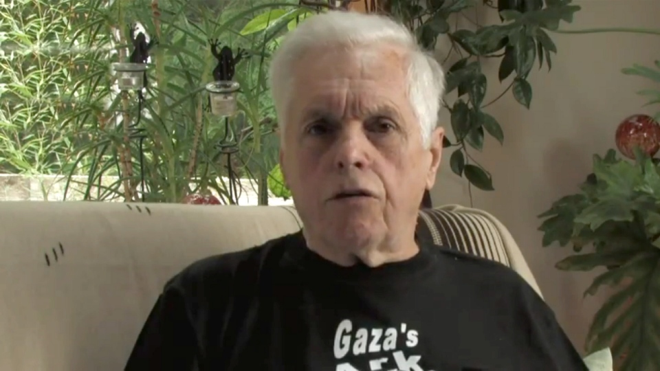 Former NDP MP Jim Manly makes a statement in a pre-recorded video released on YouTube on Saturday Oct. 20, 2012. (YouTube, CanadaBoatGaza / THE CANADIAN PRESS)