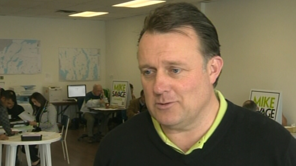 Halifax Mayor Mike Savage speaks at his campaign headquarters where people showed up to cast their ballots on Oct. 20, 2012.
