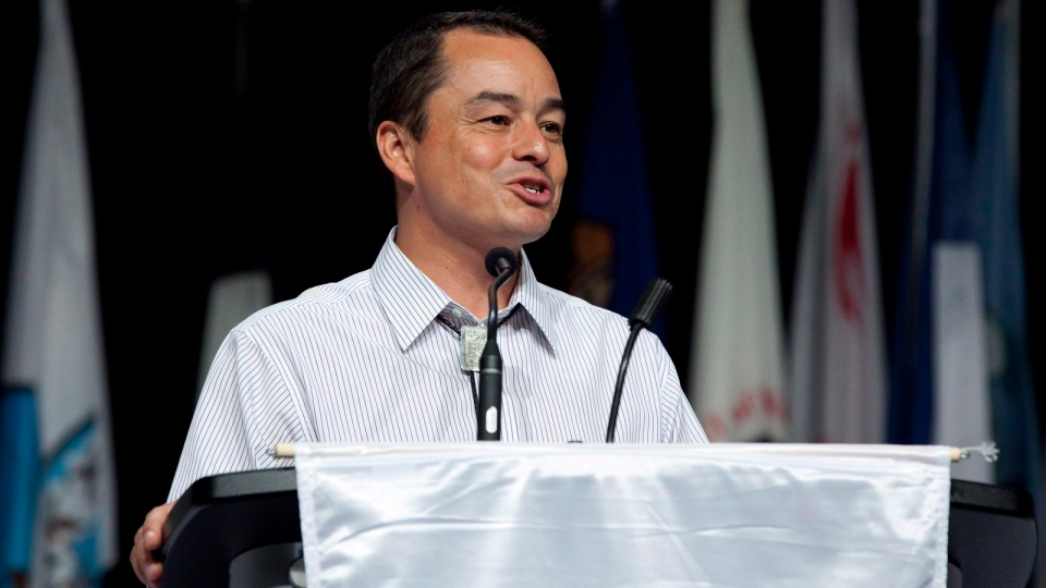 Shawn Atleo makes closing remarks as national chief of the Assembly of First Nations at the Annual General Assembly in Toronto on Thursday, July 19, 2012. (Michelle Siu / THE CANADIAN PRESS)