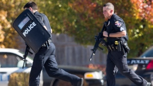Police and swat team members respond to a call of a shooting at the Azana Spa in Brookfield, Wis. Sunday, Oct. 21, 2012. (AP / Tom Lynn)