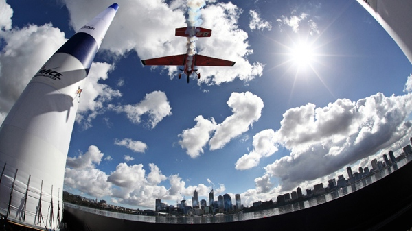 An undated photo of Canadian air racer Pete McLeod taking to the skies during a training run in Perth, Australia (Photo credit: Red Bull)