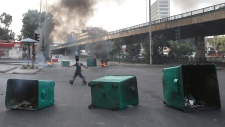 Burning tires and garbage on the streets of Beirut
