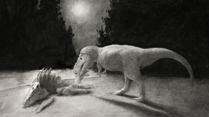 This illustration depicts a T. rex preying on another T. rex. (Nicholas Longrich / Yale University)