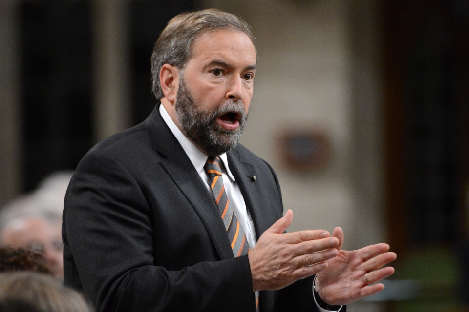 NDP Leader Tom Mulcair asks a question during Question Period in the House of Commons on Parliament Hill in Ottawa on Monday, October 22, 2012. (Sean Kilpatrick / THE CANADIAN PRESS)