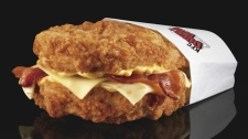 This undated product image provided by KFC shows their new Double Down sandwich. (KFC / Dan Kremer)