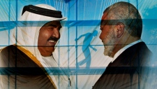 Poster of the Emir of Qatar and Gaza's Hamas PM