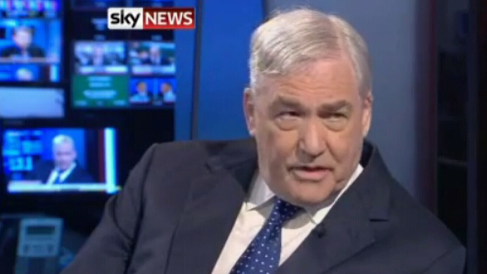 Conrad Black appears in an interview on Sky News in the U.K. on Tuesday, Oct. 23, 2012.