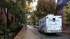 Toronto police forensics truck on Ontario Street