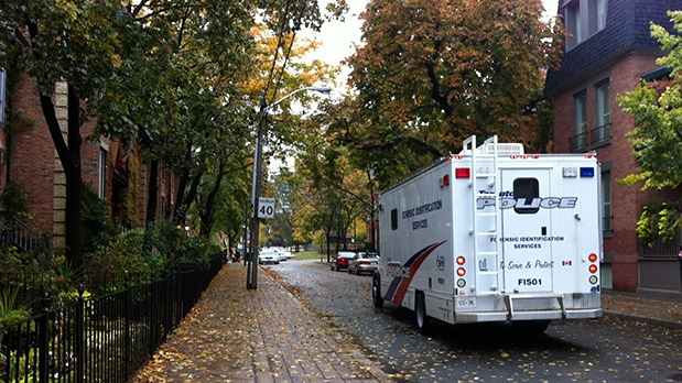 A Toronto Police Services forensics truck is seen on Ontario Street on Oct. 23, 2012. (Tamara Cherry / CTV Toronto)
