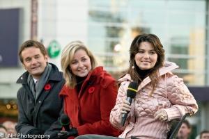 Seamus O'Regan, Beverly Thomson and Shania Twain<br><br>Photo Nilesh Hathi/Canada AM