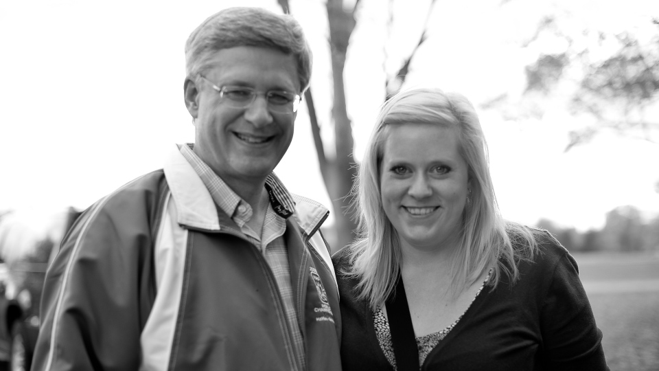 Prime Minister Stephen Harper poses with wedding photographer Laura Kelly in Ottawa on Oct. 20, 2012. (Courtesy Laura Kelly)