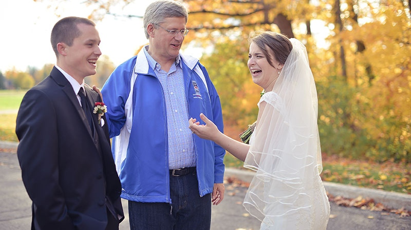Prime Minister Stephen Harper is seen speaking with couple Patrick Sullivan and Jocelyne Potvin in Ottawa on Oct. 20, 2012. (Courtesy Laura Kelly)