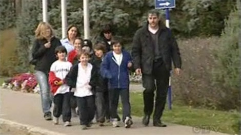David Sasson and supporters were at the Pointe-Claire municipal courthouse Monday to fight a $75 street hockey fine.