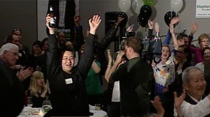Cheers rang out as Stephen Mandel was re-elected a third term in office.