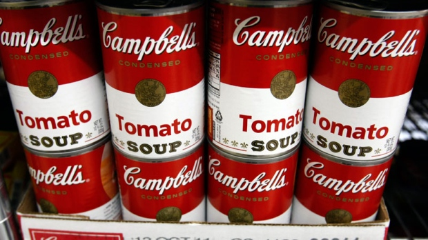 Campbell's tomato soup is seen on display at a grocery store in Palo Alto, Calif. (AP / Paul Sakuma)