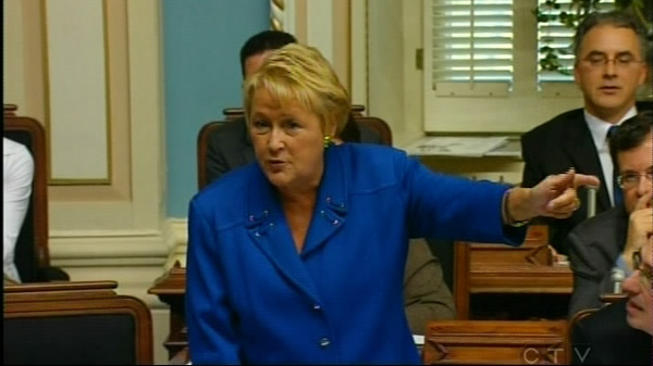 Parti Quebecois leader Pauline Marois said Quebecers are a small, threatened people. (Oct. 18, 2010)