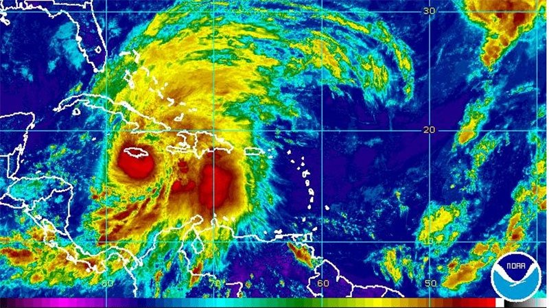 Hurricane Sandy churns in the Caribbean as seen in this enhanced NOAA image taken 2:45 p.m. ET, Wednesday, Oct. 24, 2012.