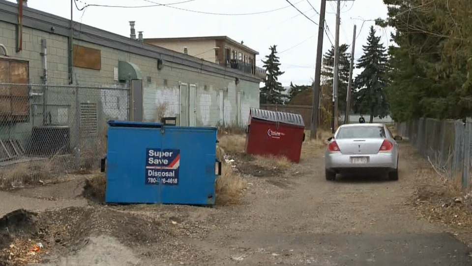 A human head was found in a cardboard box in this alley in Edmonton on Wednesday, Oct. 24, 2012.