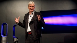 In this photo taken by AP Images for Dyson, inventor James Dyson launches the Dyson DC41 Ball vacuum and the Dyson Hot heater fan in New York on Wednesday, Sept, 14, 2011. (AP Images for Dyson / Rob Bennett)
