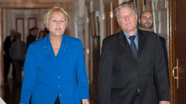 Parti Quebecois leader Pauline Marois and PQ language critic Pierre Curzi, hours after Bill 115 was approved by the legislature (Oct. 19, 2010)THE CANADIAN PRESS/Jacques Boissinot