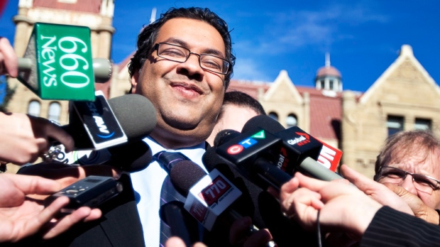 Newly elected Calgary mayor Naheed Nenshi  speaks to the media the day after being elected to the office in Calgary, Tuesday, Oct. 19, 2010. (Jeff McIntosh / THE CANADIAN PRESS)