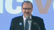Ric McIver delivers his concession speech following the election of Naheed Nenshi as mayor of Calgary at his campaign headquarters on Monday, Sept. 18, 2010.
