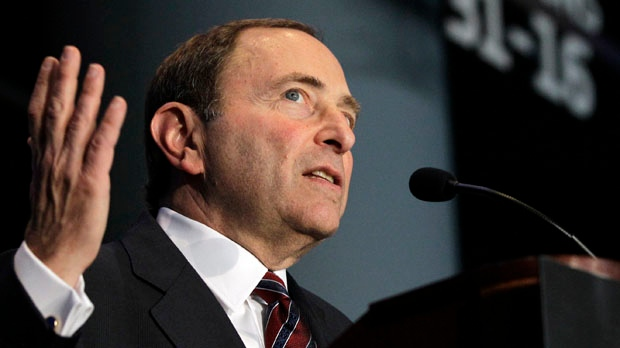 NHL commissioner Gary Bettman speaks during a press conference in New York on Wednesday, Oct. 24, 2012. (AP / Kathy Willens)