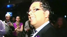 Naheed Nenshi at his campaign headquarters.
