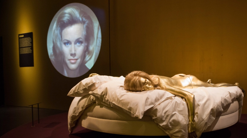A life-sized replica of the Jill Masterson character in 'Goldfinger,' one of the highlights of the 'Designing 007: 50 Years of Bond Style' exhibit opening in Toronto on Friday.