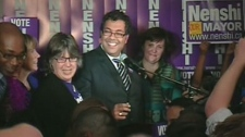 Naheed Nenshi is seen surrounded by his supporters after being elected mayor of Calgary, Monday, Oct. 18, 2010.