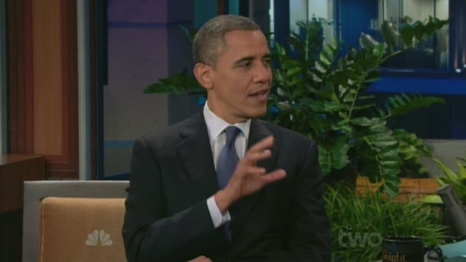 U.S. President Barack Obama speaks about the NHL lockout on 'The Tonight Show' with Jay Leno on Wednesday, Oct. 24, 2012.