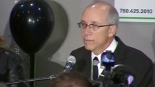 Stephen Mandel speaks to his supporters at his campaign headquarters after being re-elected for a third term as mayor of Edmonton, Monday, Sept 18, 2010.