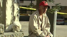 Man who helped the father who discovered his baby in a Calgary dumpster. October 20, 2010.