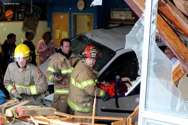 Van crashes into Alberta classroom