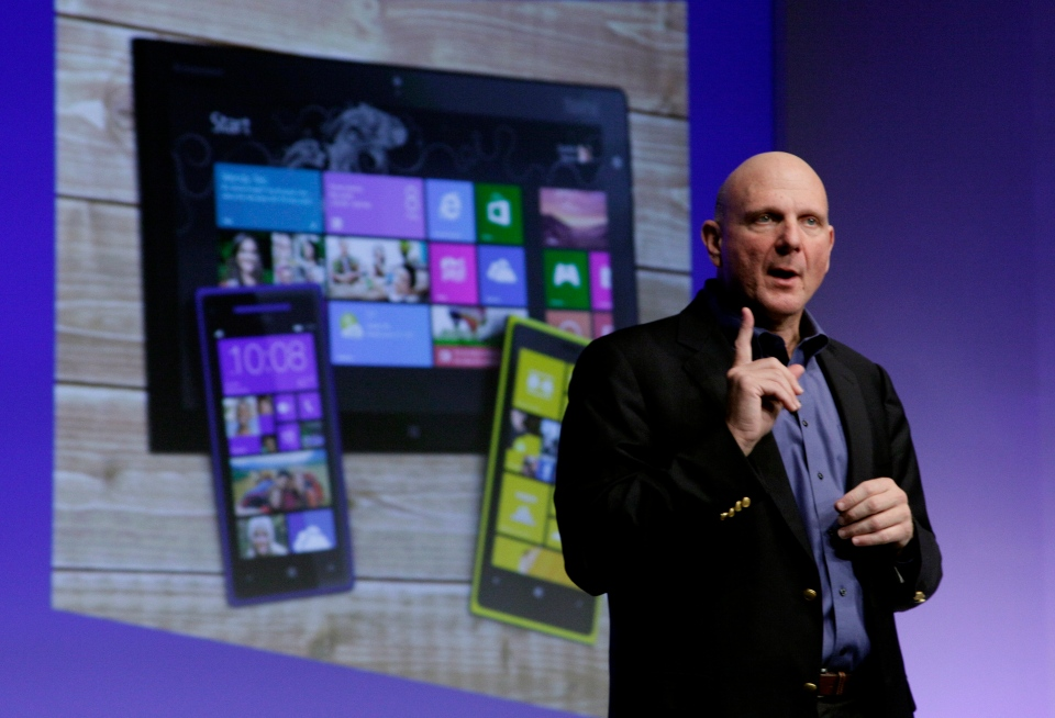 Microsoft CEO Steve Ballmer gives his presentation at the launch of Microsoft Windows 8, in New York, Thursday, Oct. 25, 2012. (AP / Richard Drew)