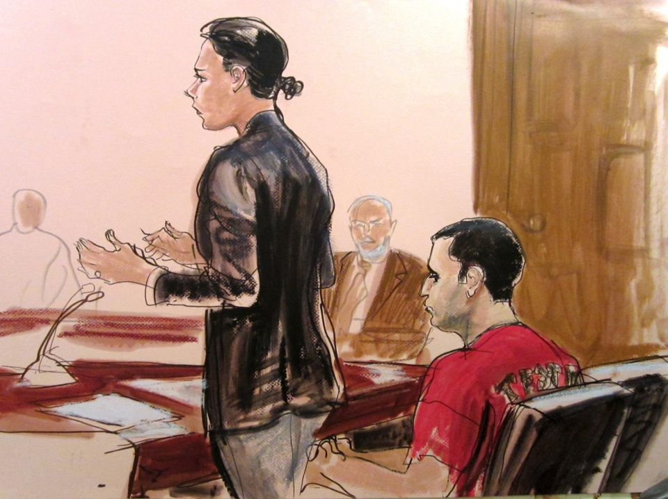 In this courtroom drawing Federal Defender Julie Gatto requests bail for her client, New York City Police Officer Gilberto Valle, right, at Manhattan Federal Court in New York, Thursday, Oct. 25, 2012. (AP / Elizabeth Williams)
