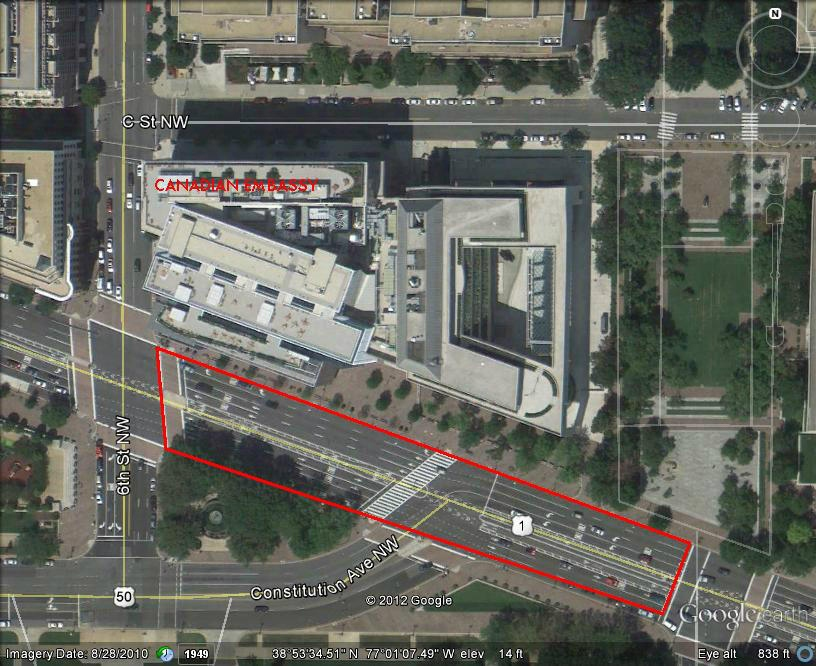The Metropolitan Police Department tweeted this photo of the blocked off area outside the Canadian embassy in Washington, Friday, Oct. 26, 2012.