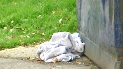 A blanket lays at the scene where an infant was found in a dumpster in Calgary on Tuesday, Oct. 19, 2010.