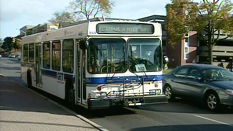 A Grand River Transit bus is seen on King Street in Kitchener, Wednesday, Oct. 20, 2010.