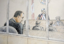 Col. Russell Williams is shown in a sketch as he appeared in court in Belleville, Ont., on Thursday, Oct. 21, 2010. (Tammy Hoy / THE CANADIAN PRESS)