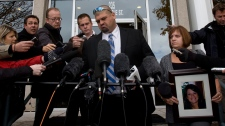 Andy and Roxanne Lloyd speak to media outside court following the Col. Russell Williams trial at court in Belleville, Ont., on Thursday, Oct. 21, 2010. (Lars Hagberg / THE CANADIAN PRESS)