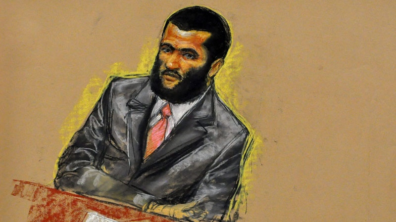 Omar Khadr is shown in this 2010 court sketch while awaiting trial on Guantanamo Bay U.S. Naval Base in Cuba. (Janet Hamlin)
